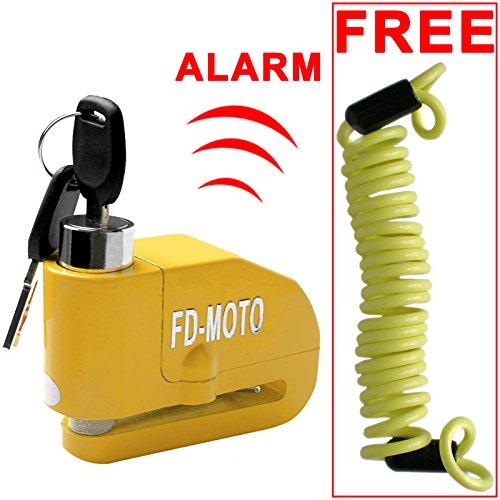 FD-MOTO LK603 - Candado de Disco de Aleación de Aluminio para Motocicleta y Bicicleta, Incluye Alarma y Cable de recordatorio DE 1,5 m