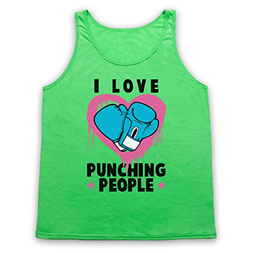 I Love Punching People Boxing Slogan Tank-Top Weste Neon Grun
