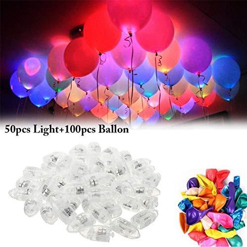 Justdolife Ballon Lights Mini Dekorative LED Helium Ballons Lights mit 100 STÜCKE Ballons (Led Ballon Lights)