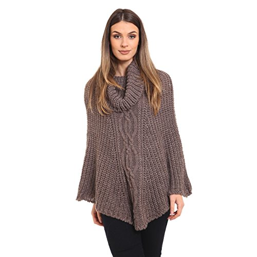 Ladies Cowl Neck Chunky Warm Cable Knit Poncho Onesize 36-46 Moutarde