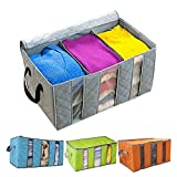 #4: Goank Portable Foldable Wardrobe Clothes Organizer Blanket Pillow Organizer Clothes Storage Box Assorted Color (Grey, Blue, Orange, Green) Set of 1 Pc