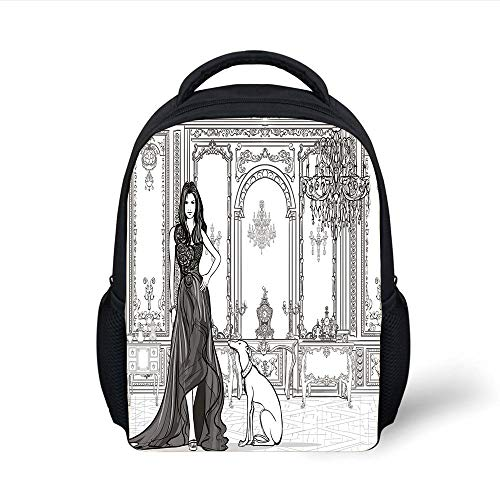 Kids School Backpack Teen Room Decor,Sexy Fashion Woman in Victorian Palace with Dog Baroque Illustration,Dark Grey White Plain Bookbag Travel Daypack -