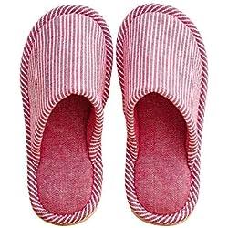 Summer Mae Pantuflas de algodón con Rayas Antideslizantes Zapatillas de Estilo Sencillo otoño Invierno Mujer/Hombre Rojo EU 36-38