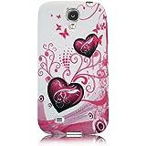 Xtra-Funky Exclusive - Carcasa protectora trasera para Samsung Galaxy S4 i9500/i9505 (silicona), diseño floral con mariposas B5-Pink Hearts