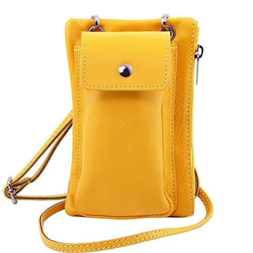 Tuscany Leather TL Bag Tracollina Portacellulare in pelle morbida Celeste Giallo