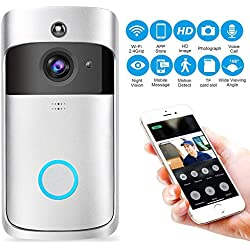 KOBWA Video Doorbell, Inalámbrico Videoportero 720P HD con Audio bidireccional detección de Movimiento y conexión wi-fi Burglar Reminder App for iOS/Android/Windows