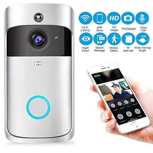 Kobwa WiFi Smart Sonnette, Carillon vidéo sans Fil HD 720p WiFi Camera vidéo en Temps réel Audio Bidirectionnel Vision Nocturne Détection de Mouvement Voleur Rappel iOS, Android, Windows (Argent)