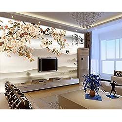 Personnalisé grand mur peintre avec des fleurs et des oiseaux, peinture chinoise Tang Yun, fond d'écran de la télévision chinoise