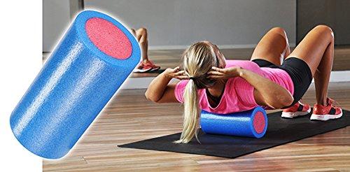 Bambelaa! Faszienrolle, Massagerolle, Fitnessrolle, Schaumstoffrolle, Gymnastikrolle, Yoga-Rolle, Pilates-Rolle, Foam Roller, Selbstmassage Bindegewebe Faszien – Optimal Für Anfänger Größe ca. 15 x 30cm Farbe Hellblau-Magenta