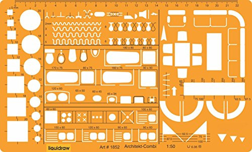 Liquidraw® Architektur-Schablone im Maßstab 1:50, Lineal, Zeichenschablone, technisches Skizzenzubehör, Architektur, Möbeldesign-Symbole für die Inneneinrichtung und Grundriss