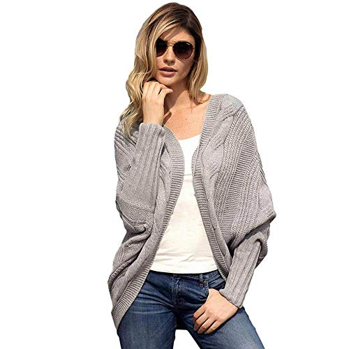 KAIDILA Gray Luxe Kabel Stricken Open Front Weihnachten Geschenke Herbst und Winter Solid Color Langarm Strickjacke Cardigan Lo OSE Strickjacke Casual Rib Knit Pullover -