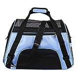 CoolMarteu Transporttasche Hunde Katzen Hundetasche Faltbar, Hund Tragetasche für Auto Flugzug, Transporttasche für kleine Haustiere bis 10kg (Blau)