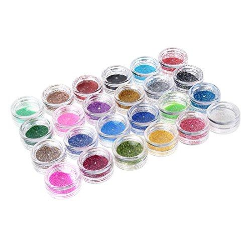 24 Farben Nagel Glitter Acryl Pulver Staub 3D Spitze Nagel Kunst Maniküre Werkzeuge Nail Art Dekoration Pulver Staub Edelstein Nail Dekoration Acryl-dekorative Edelsteine