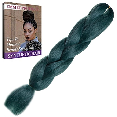remium Qualität 100% Kanekalon Braiding Haarverlängerung Volle Synthetik Haar Ombre 24Inch 1Pc / lot Hitzebeständig, lange Zeit mit-37 Farben 2Tone & 3Tone, Garantie 1 Woche ändern oder Rückerstattung (Farbe 64) (Grün-haar-verlängerung)