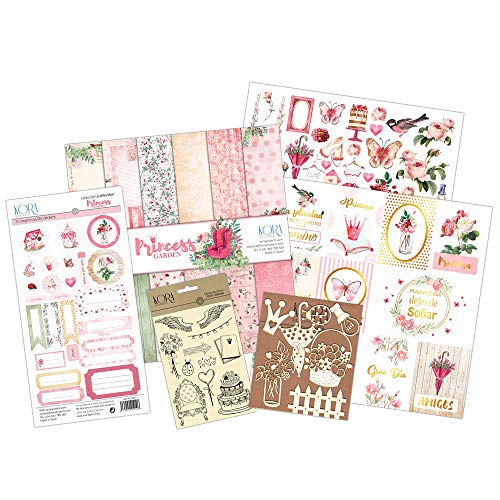 Kit scrapbooking - Princess Garden tarjetas ESPAÑOL