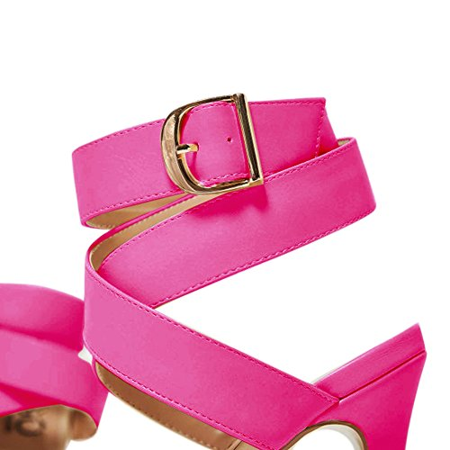 Damen Open Toe Sandalen High-Heels Criss Cross Stiletto Schnalle Slingback Rosa