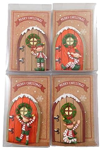 4er Pack - 7.5cm Weihnachtstür mit Elf-Verzierung - Stocking Fillers - Wichteln - Weihnachtsdekoration