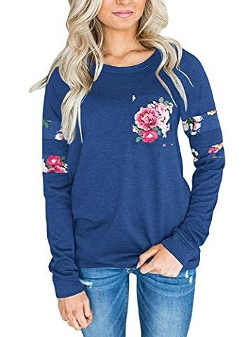 Dokotoo Femme Casual Manche Longue T Shirt Imprimé Floral Sweat Shirt Blouse Tops Hauts Automne Hiver