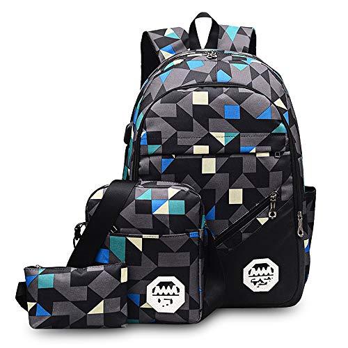 Zaino per scuola Zaino in nylon alla moda Kit 3 PCS di spalle Borsa/Monospalla/Borsa a mano per ragazzi Ragazze Uomo Donna Studente (Grigio)