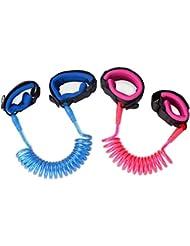 Zooawa Cuerda Antiperdida,[2 Pack] Hook and Loop Wristband Leash Cuerda de seguridad para niños al aire libre para niños y niños pequeños, 1.5M Rosa + 1.8M Azul