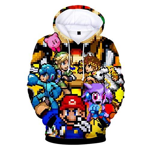 Fashion Herren Pullover (CTOOO 2018 Damen Und Herren 3D Mario Kapuzenpullover Hoodies Sweatshirt Loose Fit Mode Pullover Jacket XXS-XXXL)