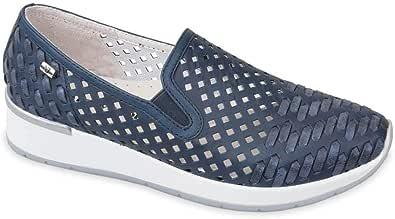 Valleverde 18101 Mocassini Intreccio Scarpe Slip-on Donna in Pelle Blu