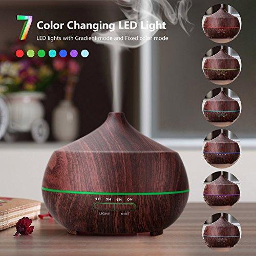 Tenswall 400ML Humidificador Aromaterapia Ultrasónico.Difusor de aroma/aceite esencial de Vapor frío  anillo de luces LED de 7 colores para Hogar  Oficina Dormitorio sala sala de estar etc.
