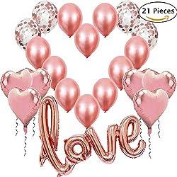 Jonami 21 Ballons Rose Or, 1 Ballon Love XXL + 6 Ballons en Forme de Coeur en Or Rose + 4 Ballons de Confettis + 10 Ballons de Baudruche pour des Décorations de Mariage Déco Romantique Saint Valentin