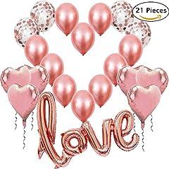 Idea Regalo - Palloncini Rosa Oro, 1 Palloncino Love XXL, 6 Palloncini a Cuore Rosa Dorato, 4 Palloncini Coriandoli Oro Rosa, 10 in Lattice per Decorazione Romantica, Matrimonio, San Valentino e Fidanzamento