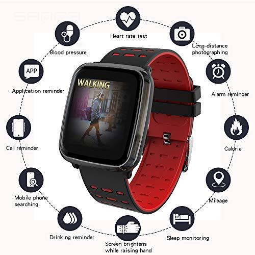 Fitness-Tracker, intelligente Uhr mit EKG + PPG Herzfrequenz und Blutdruckmessgerät Pedometer IP67 wasserdicht Unisex kompatibel Android und iOS,BlackRed