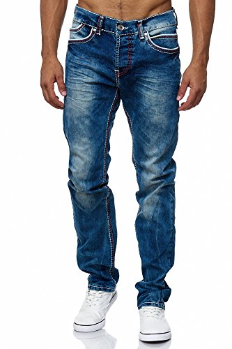 MEGASTYL Herren Männer Jeans Basic Streetwear Dicke Nähte Regular Fit, Größe:W29 / L32, Farbe:Blue 4 (Vier Herren Camp)