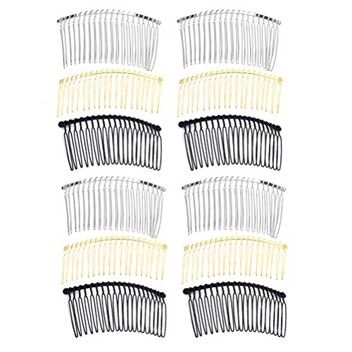 Frcolor Haar Kamm 20 Zähne Braut Haarspange Combs Fancy DIY Metalldraht Haar Seite Kämme 12 stücke (Golden Weiß K Schwarz)
