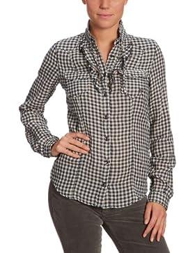 GAS - Blusa con cuello redondo de manga larga para mujer, talla 38, color azul marino 194