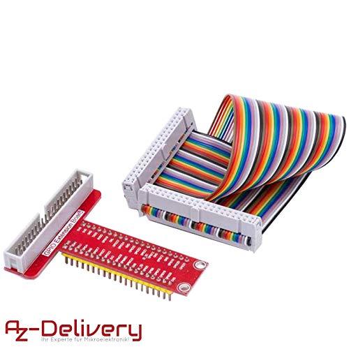 AZDelivery ⭐⭐⭐⭐⭐ GPIO Breakout Board und kompatibles Ribbon Kabel für Raspberry Pi 3, 2 Model B und B+ (1x GPIO Breakout) - Adapter Breakout-kabel
