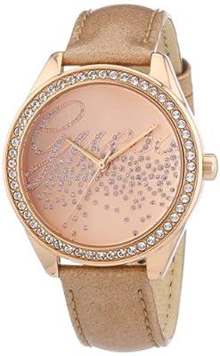 Guess Ladies Trend W0161L1 de cuarzo para mujer, correa de cuero color oro rosa