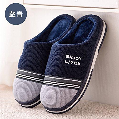 DogHaccd pantofole,Autunno Inverno home soggiorno con un paio di pantofole di cotone confezione con bella calda spessa antiscivolo pantofole di peluche di uomini e donne. Semi-blu scuro3