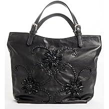 Giglio - Passione Bags - Borsa nera da donna in vera pelle a spalla con fiori ricamati a mano - Made in Italy