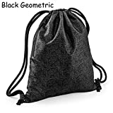 Zaino Zainetto Sacca con Chiusura a coulisse Graphic Drawstiling Backpack by BAG BASE design Nero Geometrico