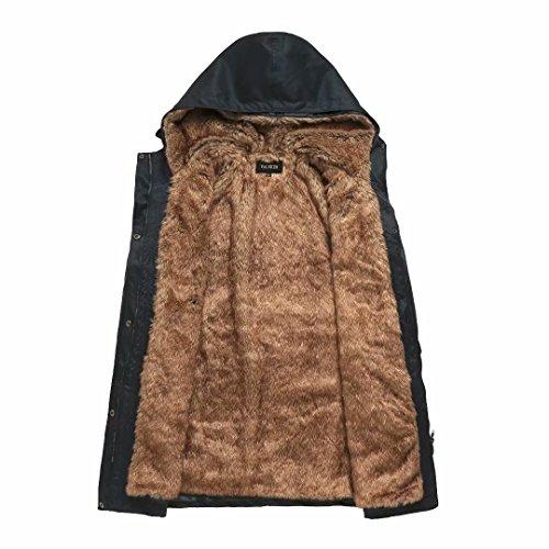 Damen Warm Trenchcoat Mit Abnehmbaren Liner Lang Daunen Mantel Kunst Fell Winter Jacke Marine DE:36 / US:XS - 3