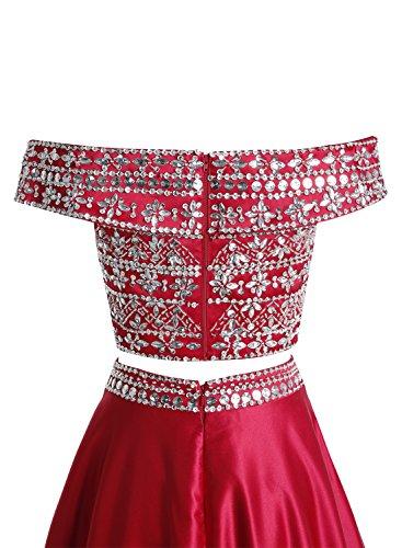 Bbonlinedress Robe de soirée et de bal emperlée épaules dénudées sexy deux pièces longueur ras du sol en satin Vert