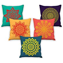 Aart Mandala Pattern Multi Color Cushion Cover 16 By 16 Set Of 5