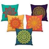 #2: Mandala art pattern printed cushion cover 16x16 set of 5