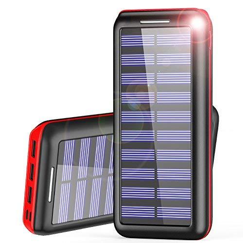 Powerbank AKEEM 24000mAh Verbessert Externer Akku, Solar Ladegerät mit Dual Eingangsports und 3 USB Ausgängen Tragbare Power Bank für das Android/IOS Phone und andere Smartphones/Handys(Rot)