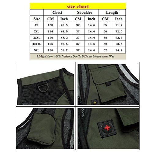 Zhhlinyuan praktisch Mens Quality Vest Waistcoat Jacket for Camping Hunting Fishing Photography Khaki