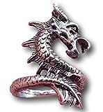 Drago Argento Anello Statement Ricci Circa Finger by Pashal Dragons. Taglia 10 7/8