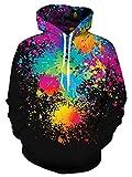 Spreadhoodie 3D Druck Muster Sweatshirt Pullover für Herren Damen Bunte Hoodie Nette Katze im Weltraum Print Pullover Sweatshirt mit Tunnelzug Hoody Unisex Rot Blau M