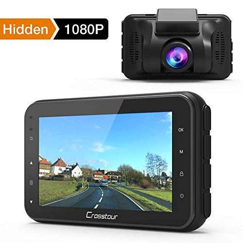 Crosstour Cámara de Coche Dash CAM 1080P Full HD 170°Ángulo Cámara para Coche G-Sensor Detección de Movimiento Grabación en Bucle HDR con Visión Nocturna (CR100)