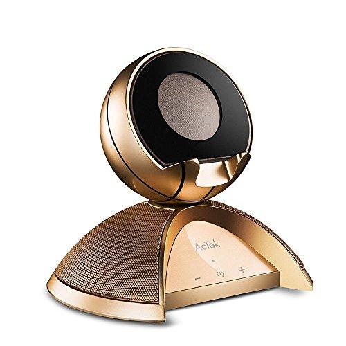 AcTek Touch Bluetooth Lautsprecher Wireless Speaker besitzt Dual-Treiber und Basketball-Form Handy Ständer, ideal für Film oder Video auf dem Handy Schauen, AUX-Ausgang Port auch geeignet für Computer