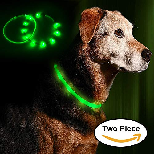 LEANKING Hundehalsband LED Leuchthalsband USB wiederaufladbar Längenverstellbar Klassische Halsbänder (Grün)