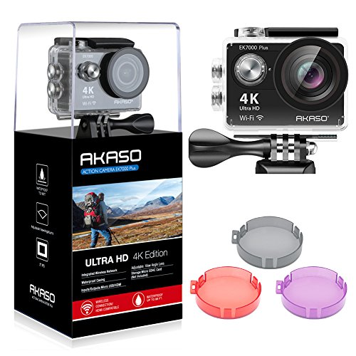 AKASO Ek7000Plus 4K 16MP WiFi Action Camera réglable Angle de Vue 30m Caméra étanche télécommande Caméra de Sport avec Un Casque kit d'accessoires et filtres